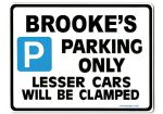 BROOKE'S Personalised Parking Sign Gift | Unique Car Present for Her |  Size Large - Metal faced